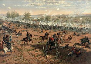 A scene from the Battle of Gettysburg by Thure de Thulstrup. Restored by Adam Cuerden.