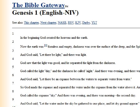 A Bible Gateway passage view from 1997.