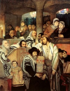 'Jews praying in the Synagogue,' painted by Maurycy Gottlieb in 1878.