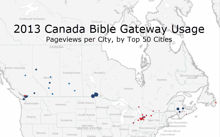 Top 50 Canada Cities on Bible Gateway in 2013