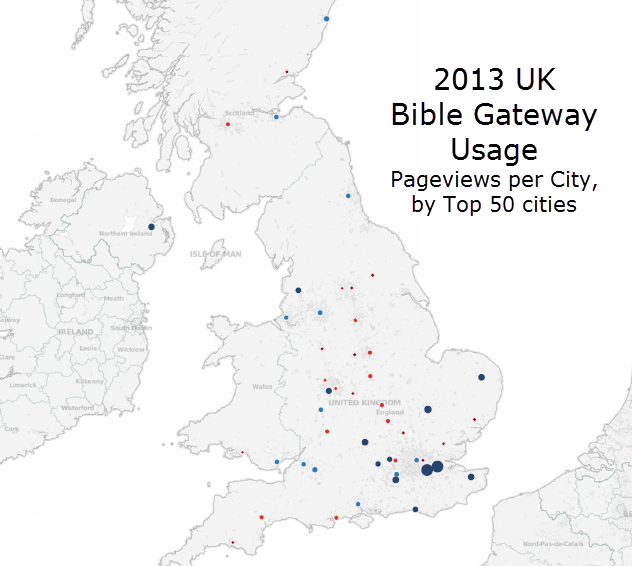 Top 50 UK Cities on Bible Gateway in 2013