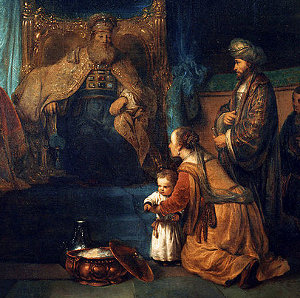 Hannah presents her son Samuel to the high priest. From a painting by Gerbrand van den Eeckhout.