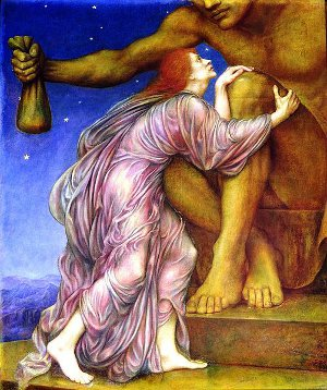 A depiction of Mammon worship by Evelyn De Morgan (1909).