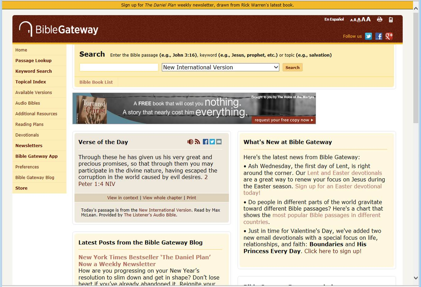 Bible Gateway, World's Most Visited Christian Website