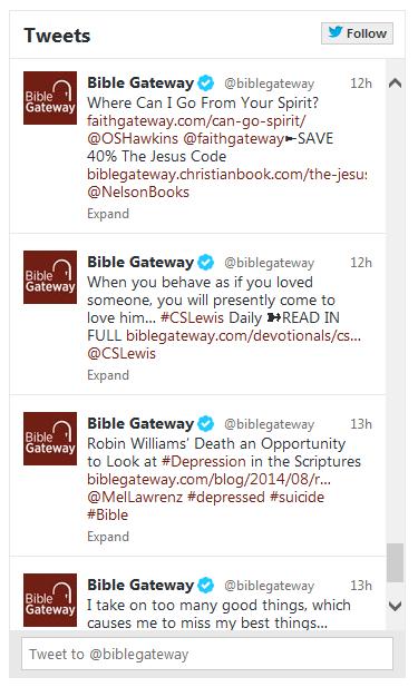 BibleGateway com - Link to Bible Gateway